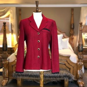 St. John Collection Red & Black Woven Jacket Sz 4